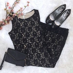 Black Lace Cocktail Dress with Cream Lining S